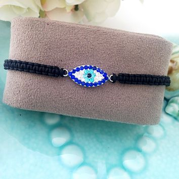 FREE SHIPPING, Evil eye bracelet - evil eye jewelry - adjustable bracelet - evil eye charm - evil eye beads - Turkish nazar bracelet - elega