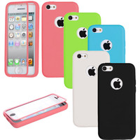 TPU Wrap Up Case Cover with Built In Screen Protector For Apple iPhone 5 5S 5C