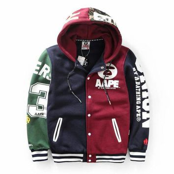 PEAPGZ9 Unisex Winter AAPE Fashion Patchwork Casual Hats Jacket [103843069964]