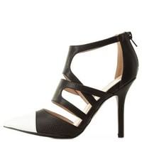 Black/White Strappy Cap-Toe Pointed Pumps by Charlotte Russe