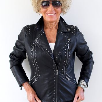 All Stud Trim Leather Jacket