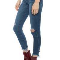 Hidden Distressed Frayed Skinny Jeans
