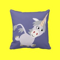 Cute Facetious Cartoon Unicorn Pillow from Cheerful Madness!! at Zazzle.com