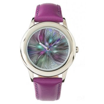 Colorful Fantasy, abstract and modern Fractal Art Wristwatch