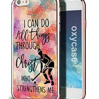 iPhone 8 / iPhone 7 Case Cover Field Hockey I Can Do All Things Through Christ Designer Cute Funny Hipster Case With Rose Gold Electroplated TPU Soft Cover For Girls Fits iPhone 7