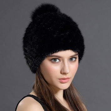 Mink Fur Beanies Cap With Fox Fur Pompoms For Women New Brand Thicken Female Cap Winter Knitted Real Mink Fur Hat