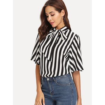Black And White Tie Neck Flutter Sleeve Striped Top