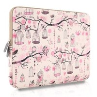 Plemo 14-Inch Laptop Sleeve Case Waterproof Canvas Fabric Bag for MacBook Air / Laptops / Notebook, Pink