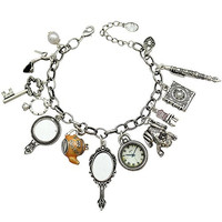 Silver Plated Q&Q Fashion Vintage Fairytale Charms Cinderella Alice in Wonderland Narnia Style Looking Glass Chain Bangle Bracelet