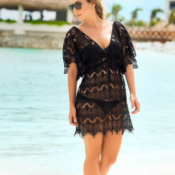 Lace Swimwear Cover Up Dress-Swimwear Coverups