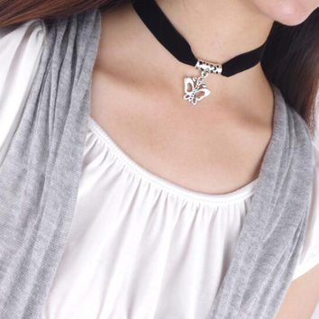 Fashion simple butterfly pendant choker necklace NO.10 XR