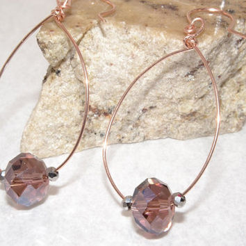 Rose Gold Hoops, 14 Kt Rose Gold Jewelry, Oval Beaded Hoops, Handmade Jewelry, Happycat2