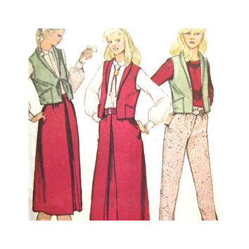 Uncut Vintage Pattern McCalls 6758 Misses Vest Skirt Pants Size 8 1970s Learn to Sew for Fun