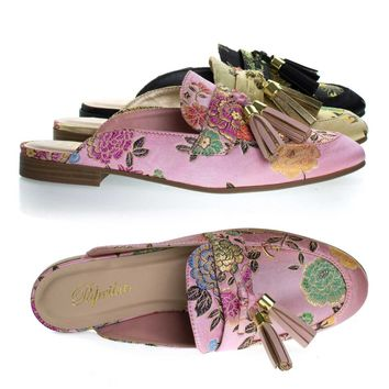 Lulani Blush Pink By Paprika, slip On Loafer Mule w Tassels & Floral Embroidered Stitching On Satin