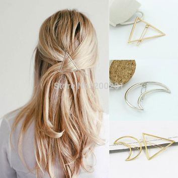 Fashion Women Girls Hair Pin Bobby Pins Metal Hollow Out Moon Triangle Hair Clips Hairpins Wedding Party Hair Accessories Gift