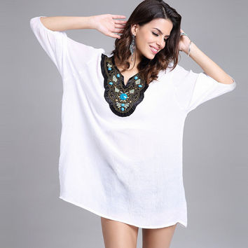 Embroidery Plus Size Stylish Cotton Tops [10239057939]