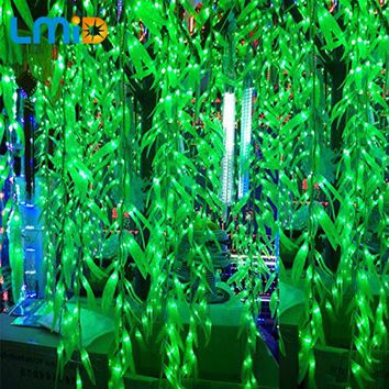 LMID 4*0.6M Artificial Salix Leaf Vine icicle led curtain Light For Home Garden Luminaries LED Decoration Christmas Light