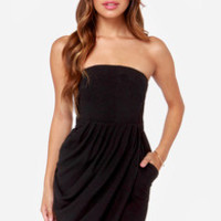 A Night to Remember Strapless Black Dress