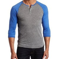 Alternative Men's Raglan 3/4 Sleeve Henley Shirt, Eco Grey/Eco True Royal, Medium