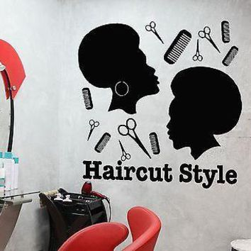 Wall Sticker Vinyl Decal Haircut Style Barber Tools Scissors Hairdresser Unique Gift (i1120)