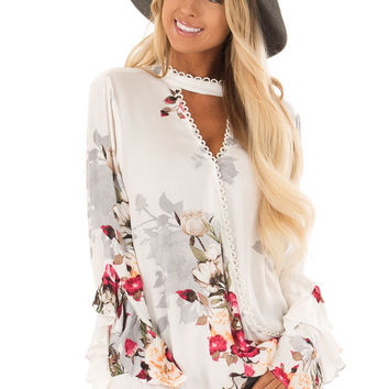 Off White Floral Print Surplice Top with Long Ruffle Sleeves