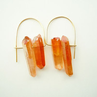 Tangerine Aura Quartz Earrings - Raw Crystal Points - Orange - Iridescent