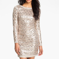 Eliza J Long Sleeve V-Back Sequin Sheath Dress | Nordstrom