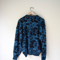 Vintage 80s Soft Blue Acrylic Grunge Sweater