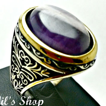 Men's Ring, Turkish Ottoman Style Jewelry, 925 Sterling Silver, Authentic Gift, Traditional, Handmade, With Banded Amethyst, US Size 11.5