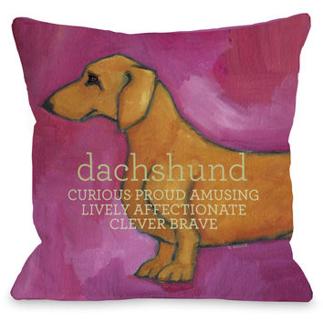 """Dachshund"" Indoor Throw Pillow by Ursula Dodge, 16""x16"""