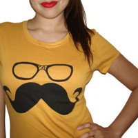Womens Mustache Wayfarer Glasses T Shirt - American Apparel Tshirt - S M L XL (20 Color Options) - Edit Listing - Etsy