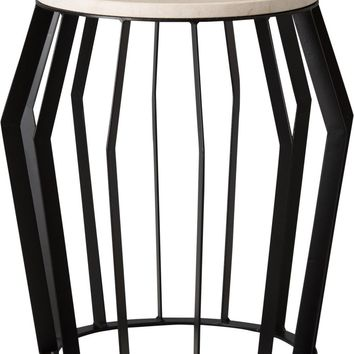 Billie Metal Stool/Table Powedercoated Black With A White Granite Top