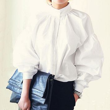 Women Lantern Sleeve Blouse Ladies Fashion Long Cotton Tops Female Vintage Oversize Loose Stand Collar Puff White Shirts