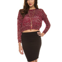 Campbell Crop Top Sweater - Red