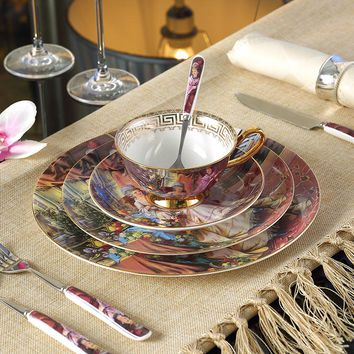 Painting Bone China Dinnerware Sets Dishes And Plates Top-grade
