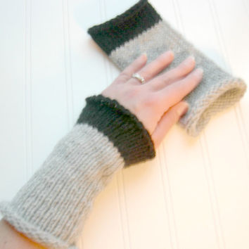 Wrist Warmers Hand Knit in Black and Grey by WindyCityKnits