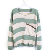 Green Striped Bat Long Sleeve Loose Sweater