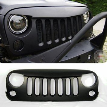 Xprite Front Matte Black Angry Bird Grille Grid Grill for Jeep Wrangler Rubicon Sahara Jk 2007-2016