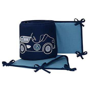 Lambs & Ivy Metropolis Blue Embroidered Car & Truck 4-Piece Baby Crib Bumper