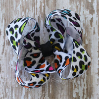 Twisted Butterfly Hairbow, Cheetah Print, Black Neon White, 3 Inch, Twisted Bow, Toddler Hairbow, Hair Clips, Girls Hairbow,