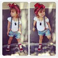 2015 summer cute baby kid girls clothes set cotton white t shirt + suspender denim shorts 2pcs