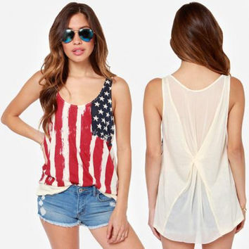 American Flags Print T- Shirts for Women - USA - 4th of July Shirt