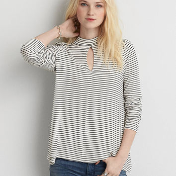AEO Soft & Sexy Mock Neck T-Shirt , Cream