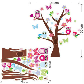 Cute owls tree wall stickers for kids room decorations nursery cartoon children girls decals 1006. animals mural art flowers 4.0 SM6
