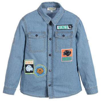 Kenzo Boys Denim Shirt With Patches