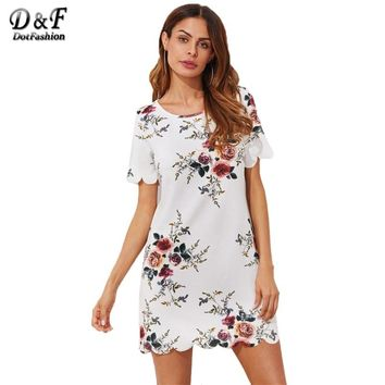 1690e693561 Dotfashion Scallop Trim Botanical Print Tunic Dress 2019 Summer. Item  specifics Gender Women Sleeve ...