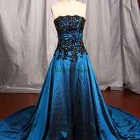 black lace and dark blue taffeta prom dresses with swarovski crystals strapless bow sash wedding gowns with court train party dress