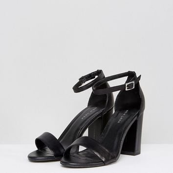 New Look Leather Block Heel Two Part Sandal at asos.com