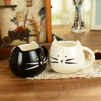 Lovely cat design ceramic mug black and white lovers ceramic cups breakfast coffee cup milk mug 400~500ml