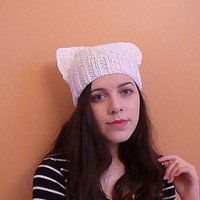 White cat hat, ear beanie, knit ear hat, winter hat, fashion cap, women's cute hat, cool style hats, hat for her
